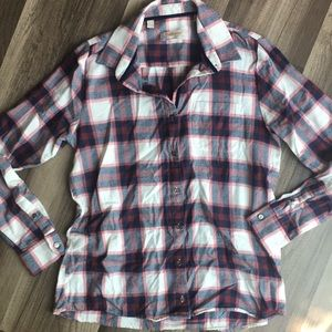 Barbour relaxed fit red blue plaid button down 6